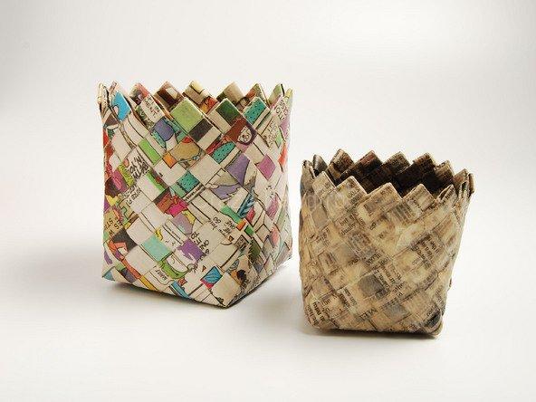 Плетение корзины из бумаги своими руками
