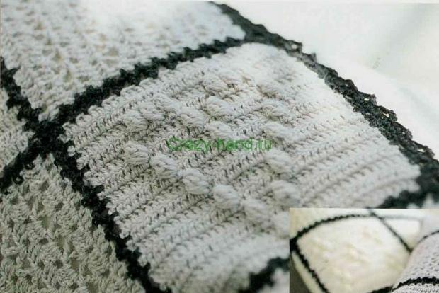 Диванная подушка и плед крючком 2