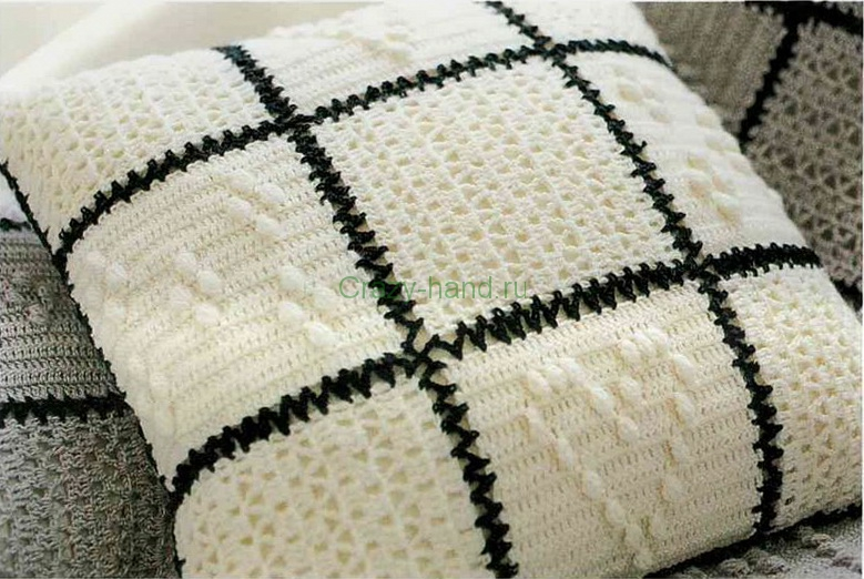 Диванная подушка крючком 1